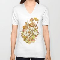 skulls V-neck T-shirts featuring skulls in spring by Teagan White