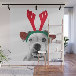 Black and White Boxer Christmas Wall Mural