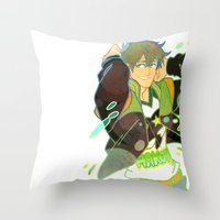 iwatobi Throw Pillows featuring Free! Club Makoto by Alyssa Tye