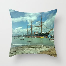 HMS Warrior at Portsmouth Harbour Throw Pillow