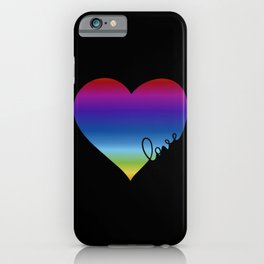 Rainbow Love Heart Pride Design iPhone Case