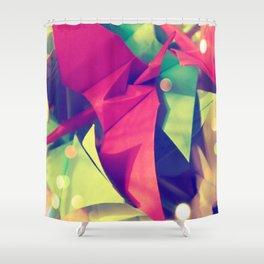 Senbazuru | pink and green Shower Curtain
