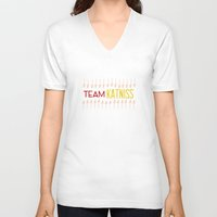 katniss V-neck T-shirts featuring Team Katniss by beinggeekchic
