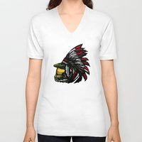 master chief V-neck T-shirts featuring The Chief by Figgy