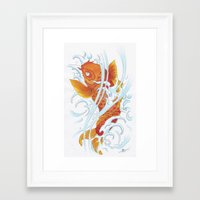 koi fish Framed Art Prints featuring Koi Fish by Give me Violence