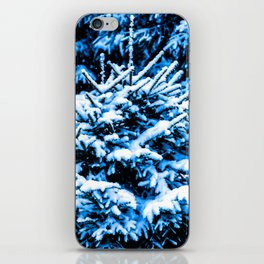 Snow covered Christmas tree iPhone Skin