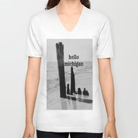 michigan V-neck T-shirts featuring Hello Michigan by KimberosePhotography