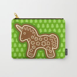 Gingerbread Unicorn on Green Background Carry-All Pouch