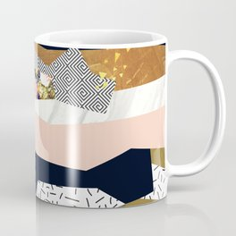 Collage of textured shapes and flowers Coffee Mug