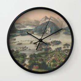 Vintage Lakes of Killarney Pictorial Map (1868) Wall Clock