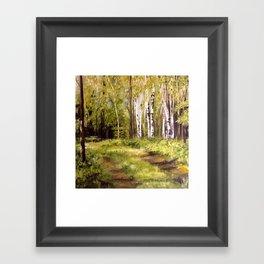 Birch Trees Nature Landscape Oil Painting Framed Art Print