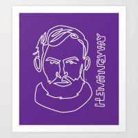 hemingway Art Prints featuring Hemingway by G_Stevenson