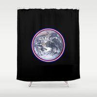 earth Shower Curtains featuring Earth by Spooky Dooky