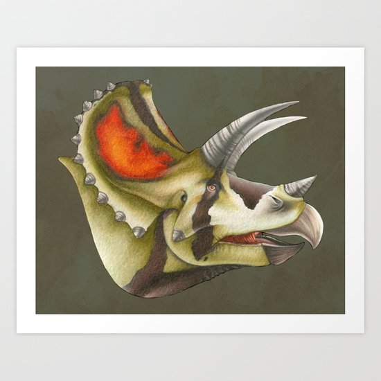 Triceratops Bust Art Print