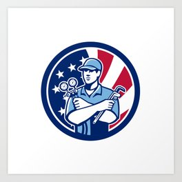 American Air-Con Serviceman USA Flag Icon Art Print