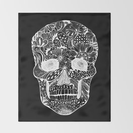 Human skull with hand- drawn flowers, butterflies, floral and geometrical patterns Throw Blanket