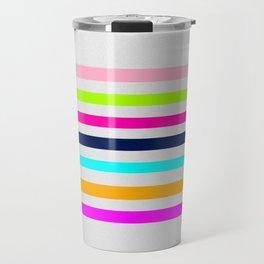 Modern neon colors geometrical whimsical stripes Travel Mug