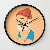 steve zissou Wall Clocks featuring Steve Zissou by Jared Yamahata