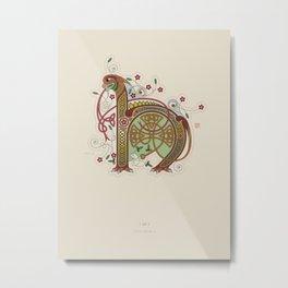 Celtic Initial H Metal Print