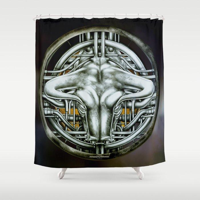 """Astrological Mechanism - Taurus"" Shower Curtain"
