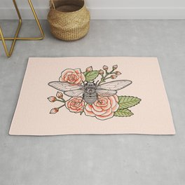 Cicada with Roses - Pink Rug