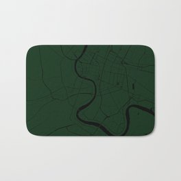 Bangkok Thailand Minimal Street Map - Forest Green and Black Bath Mat