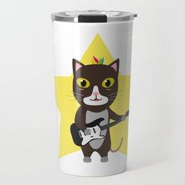 Rock-Music Cat Travel Mug