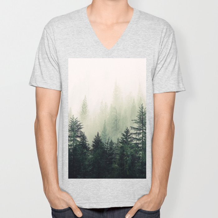 Foggy Pine Trees Unisex V-Neck