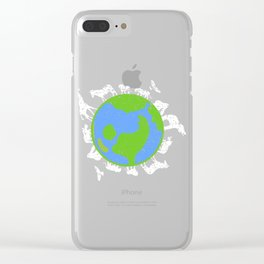 Great Animal Welfare Tee For Activitist Illustration Of Earth Surrounding Different Kind Of Animals Clear iPhone Case