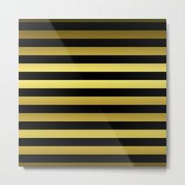 Black and Gold Jumbo Beach House Stripes Metal Print