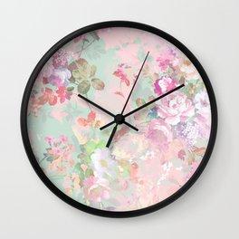 Vintage botanical blush pink mint green floral pattern Wall Clock