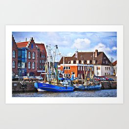 Smal harbor Bremerhaven, Germany Art Print