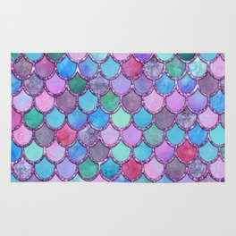 Colorful Pink Glitter Mermaid Scales Rug
