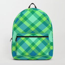 Mid-Century Modern Plaid, Jade Green, Turquoise and Blue Backpack