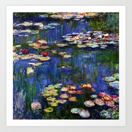 Water Lilies at Twilight impressionist painting by Claude Monet Art Print
