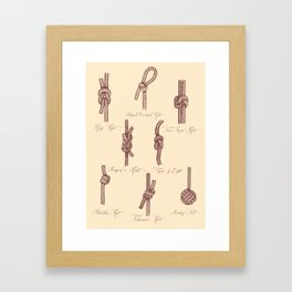 Nautical Knots (Beige and Sepia) Framed Art Print