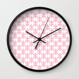 Pink Pastel Puzzle Pattern Design Wall Clock