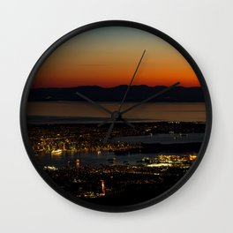 Vancouver at Sunset Wall Clock