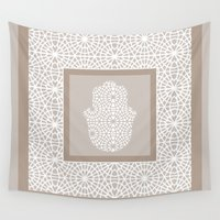 islam Wall Tapestries featuring Hamsa in morrocan pattern by Heaven7