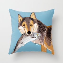 Totem Coastal wolf (Vancouver Wolf) Throw Pillow