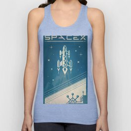 SpaceX retro-futuristic poster design Unisex Tank Top