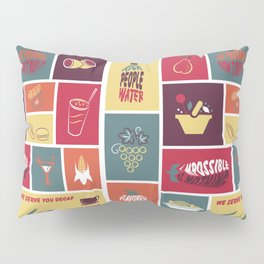Vintage Food Collage Old Style Pillow Sham