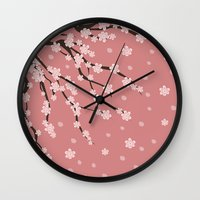 sakura Wall Clocks featuring Sakura by Julia Badeeva