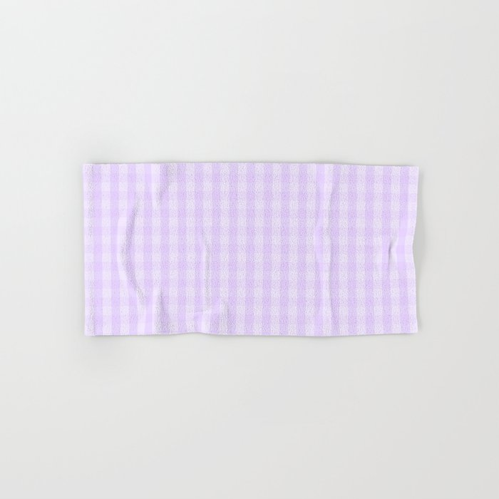 Chalky Pale Lilac Pastel Gingham Check Plaid Hand & Bath Towel