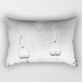 Chairlift Moon Break // Riding the Mountain at Copper Colorado Luna Sky Peeking Foggy Clouds Rectangular Pillow