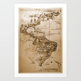 Old map of America. Art Print