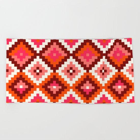 Aztec pattern-rose, orange, brown Beach Towel
