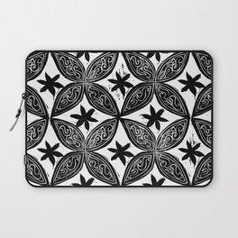 Black & White Circular/Floral Block Print Laptop Sleeve