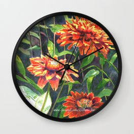 Orange Zinnias Wall Clock