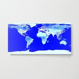 world MAP Blue Turquoise Aqua Metal Print